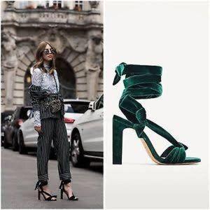 NEW Zara green velvet lace up heels size 38/8